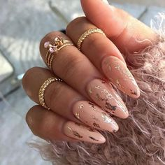 Gold foil nails More