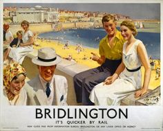 Vintage railway poster Bridlington - British made workwear by waysideflower.co.uk