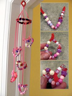 Beaded Valentine mobile by Jen Goode (seems easy enough with things from the dollar store: beads, pipe cleaners (to form hearts), ribbon and an embroidery hoop perhaps