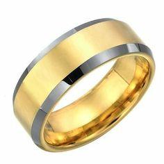 R&B Joyas - Alianza hombre, tungsteno 2 colores, anillo 8mm, talla 14, color oro / plateado: Amazon.es: Joyería