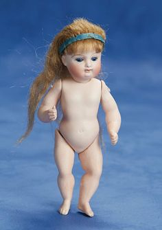 "Rare German All-Bisque Barefoot Girl by Kestner 6"" (15 cm.)"