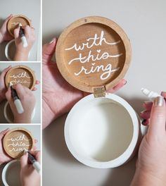 """DIY - Wooden ring bearer pillow box.. """"with this ring"""""""