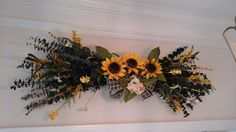 Summer Eucalyptus Swag, Sunflower Wall Arrangement, Rustic Country Wreath, Dry And Silk Floral Swag, Kitchen, Mantel, Over Door Swag by GiftsByWhatABeautifu on Etsy
