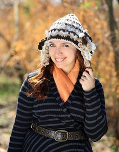 Knitted beanie headdress Native Style hat shaman winter woolKnitted beanie headdress Native Style hat shaman winter wool xmas gift idea for her crochet adult festival brown popular item with earflaps