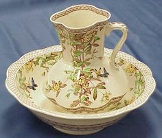 VICTORIAN DECORATED POTTERY PITCHER & BASIN SET, BROWFIELD & SONS TORONTO PATTERN. HEIGHT 12; DIAMETER 16 1/2