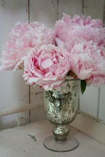 My idea of flower perfection...Mercury glass and peonies.