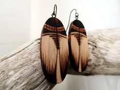 Wooden Earrings  Woodburned Earrings Earthy Organic by KDGArt