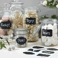 Reuseable Vintage CHALK BOARD STICKERS LABELS Candy Bar Wedding Party Jam Jar