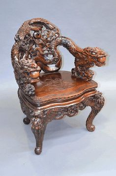 Antique Japanese export carved wood dragon arm - by Vickers & Hoad