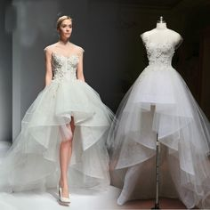 2015 New Design Wedding Dresses Short in Front and Long in Back Sweetheart Sheer Neck Custom Made High Low Bridal Gowns Loja Online Classic Wedding Dress, White Wedding Dresses, Wedding Party Dresses, Designer Wedding Dresses, Bridal Dresses, Lace Wedding, Strapless Prom Dresses, Event Dresses, Formal Evening Dresses