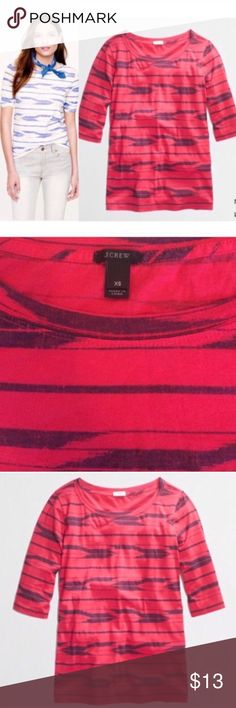 🎉J.Crew Red IKAT Stripe Graphic Tee Shirt Top XS 🎉2x HOST PICK🎉 J.Crew IKAT Stripe Graphic Tee Shirt Size XS Red & Navy blue Color  Ikat Tribal print soft cotton jersey. The tee's silhouette is a straight but slim, with a great drape and lean elbow-length sleeves. (sleeves can be rolled). Cotton Material  Body length: 21 inches  In very good condition  Please ask any questions  💲Open To Offers💲 🚫No Trades🚫 📦Ask About Bundle Discounts💰 J. Crew Tops Blouses