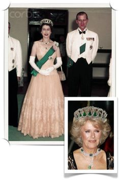 Queen Elizabeth, with Prince Phillip, wearing the Vladimir tiara with emerald drops.  Inset: Camilla, Duchess of Cornwall wears the same tiara