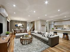 View d-three Double Storey Home Design Family Room, Home And Family, Inviting Home, Storey Homes, Display Homes, Open Plan, Living Area, Indoor, House Design