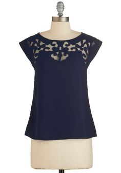 Pottery Date Top in Navy. Display your elegant style in this navy top as you work on your sculptural skills with your sweetie! #blue #modcloth