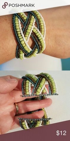 Beaded Cuff Bracelet Green, white, blue and copper color beads  Cuff  weave bracelet  Excellent condition Jewelry Bracelets