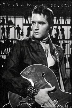 "1968 NBC TV Special - Elvis waiting for the orchestra to start the song, ""Jailhouse Rock."""