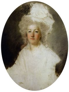 Marie-Antoinette, c.1792. Unfinished pastel portrait by Alexandre Kucharski, Musée de l'Histoire de France, Versailles. A blow, from a pike, by a revolutionary is visible on the lower part of the work.