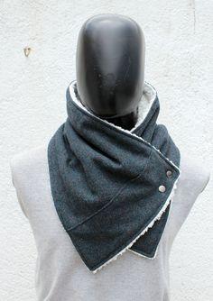 Mens Haube Schal. Unisex Schal. Petrol / Kaschmir von CheriDemeter