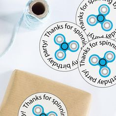 Fidget Spinner Birthday Party Favor Stickers Tags  Printable