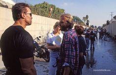 Terminator 2: Judgment Day - Behind the scenes photo of Arnold Schwarzenegger & James Cameron