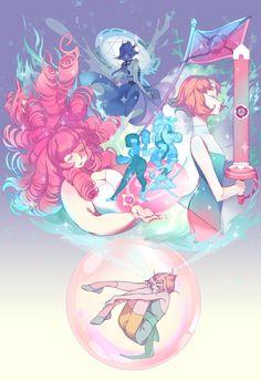 Steven universe,фэндомы,SU art,Pearl (SU),SU Персонажи,Lapis Lazuli,Rose Quartz,Garnet (SU),Blue Pearl,Bismuth,s2baro
