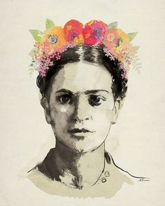 Frida Kahlo with Flowers Print