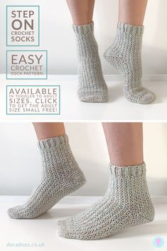 Step On - Crochet Sock Pattern This easy crochet sock pattern is worked toe up in one piece, with a Easy Crochet Socks, Crochet Sock Pattern Free, Crochet Simple, Crochet Shoes, Crochet Clothes, Free Crochet, Crotchet Socks, Crochet Owls, Crochet Beanie