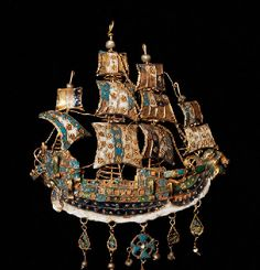 Gold pendants in the shape of a caravel, mid 17th century
