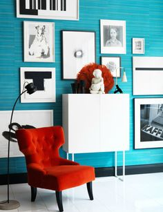 This will be my colour scheme, I already have lamps in that shade of orange. I have no problem getting everything in blue orange white and black.