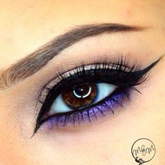 Neutral pink eyeshadow with winged liner and bright purple eyeshadow #eyes #eye #makeup #bright #bold #dramatic