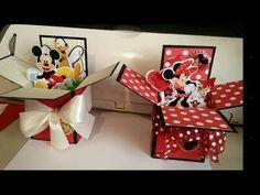 Pop Up Box Cards Disney Mickey Minnie Tutorial - cards for kids Pop Up Box Cards, 3d Cards, Card Boxes, Gift Boxes, Box Cards Tutorial, Card Tutorials, Disney Birthday Card, Birthday Cards, 21 Birthday