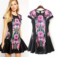 Women Ruffles Ball Gown Print Dresses Slim Casual Fashion Summer Dress Cotton Material Women Clothing Hot Sale Online with $23.57/Piece on Smartmart's Store | DHgate.com