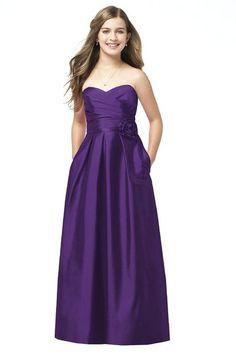 Alfred Sung - Purple Junior Bridesmaid Dress Peau De Soie