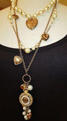 Coco Chanel Multi Strand Pearl Necklace   Vintage Chanel Button Vintage Multi Strand Faux Pearl Charm Necklace