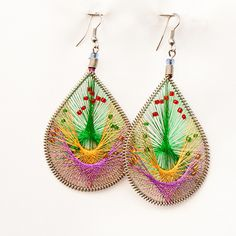 Thread Earrings Instructions | Peruvian Thread Earrings / Chaquira Bead Designs | Earth Jewelry ...