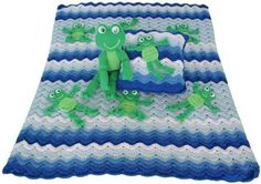 Frolicking Frogs Afghan, Pillow and Toy Crochet Patterns ($7.99 for pattern)
