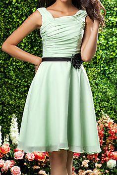 Knee Length Chiffon A Line Square Dress