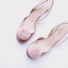 Blush pink Gucci sling backs with pom poms Daphne Blake, Mean Girls, Chanel Oberlin, Regina George, Marina And The Diamonds, Shoe Boots, Shoe Bag, Vogue, Glass Slipper