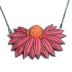 Rosa Coneflower colar, rosa e laranja jóias flor, colar de flores Echinacea, dom amante do jardim, colar de ervas, pingente botânico