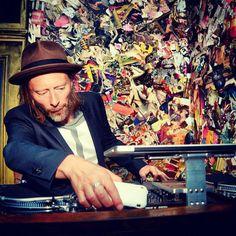 Thom Yorke of Radiohead manning the decks. #djculture http://www.pinterest.com/TheHitman14/celebrity-audio-%2B/
