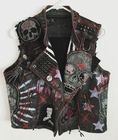 Rocker vest. Punk Rock vest. Heavy Metal vest. Studded vest. Vegan Leather vest from Chad Cherry Clothing.