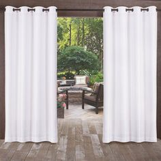 Exclusive Home Curtains Biscayne Indoor/Outdoor Two Tone Textured Window Curtain Panel Pair with Grommet Top, Winter White, 2 Piece Custom Drapes, Outdoor Curtains, Exclusive Home, Outdoor Drapes, Outdoor Living Space, Curtains, White Paneling, Pergola Curtains, Home Curtains