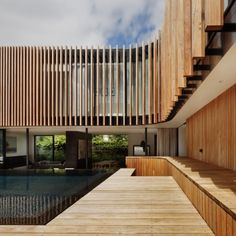 Pretty Kooyong House by Matt Gibson Architecture Design in Outdoor Space Decorated with Inground Pool Deck Used Modern Style, Architecture Design, Facade Design, Residential Architecture, Contemporary Architecture, Exterior Design, House Design, Australian Architecture, Installation Architecture, Residential Land
