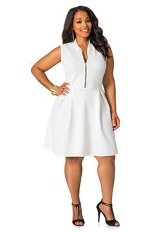 Textured Zip Front Skater DressWhite Skater Dress