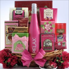 What is sweeter than Chocolate on Mother's Day? Chocolate and Wine! Send her this delectable 'Sweet Treats' Mother's Day Wine & Chocolate Gift Basket filled with everything chocolate. Start by picking her favorite wine, RELAX Pink Rose Wine, The Chocolate Shop Chocolate Red Wine or The Chocolate Shop Strawberry Red Wine, all of which go perfectly with the included chocolate delicacies.