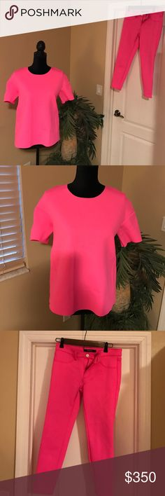 J brand scuba material top Never had the chance to wear this cute top. Weather in south Florida just too warm. Super cute bright pink . Scuba material . Runs a little big . I have the pants to match as well . Still thinking about selling . Let me know if you're interested . J Brand Other