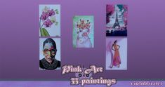 Pink Art for Sims 4 | Sims 4 Updates -♦- Sims 4 Finds & Sims 4 Must Haves -♦- My Sims, Sims Cc, Falling Objects, Cute Calendar, Pink Painting, Sims 4 Update, October 25, Seamless Background, Pink Art
