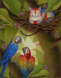 I would sit on my Nest - Original illustration by Nicola Bayley for book 'Parrot Cat'
