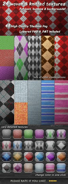 24 Tileable Woven & Knitted Textures by IA-DESIGN 24 Tileable Woven & Knitted TexturesCreate amazing buttons, frames & background for your print documents and your websitesThis pac Photoshop Design, Best Photoshop Actions, Photoshop Tips, Photoshop Elements, Photoshop Tutorial, Photoshop Texture, Portrait Background, Frame Background, Background Patterns