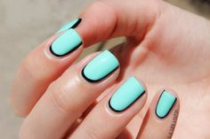 Outlined Nails Trend #blue #nailart - Go to bellashoot.com or #beautyapp for beauty inspiration!